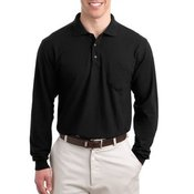 Long Sleeve Traditional Pique Polo with Pocket